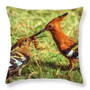 African Hoopoe Feeding Chick Throw Pillow