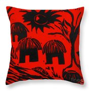 African Huts Red Throw Pillow