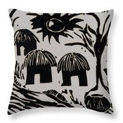 African Huts White Throw Pillow