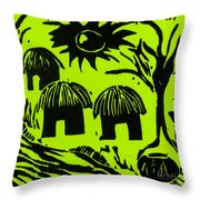 African Huts Yellow Throw Pillow by Caroline Street