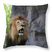 African Lion Roar Throw Pillow