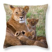 African Lioness And Young Cubs Throw Pillow