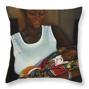African Mother And Child Throw Pillow