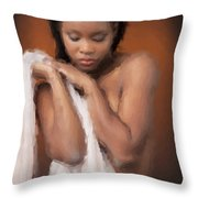 African Nude Looks Shy 1037.02 Throw Pillow