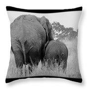 African Safari Elephants 3 Throw Pillow
