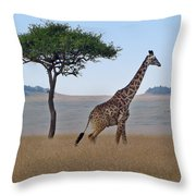 African Safari Giraffes 2 Throw Pillow