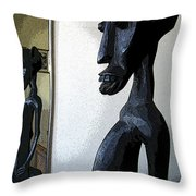 African Statue Reflection Throw Pillow