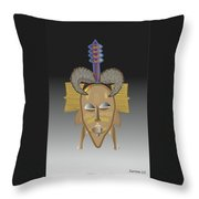 African Tribal Ceremonial Mask Throw Pillow