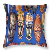 African Tribal Masks In Sidi Bou Said Throw Pillow