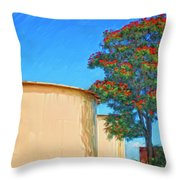 African Tulip And Fuel Tanks Throw Pillow