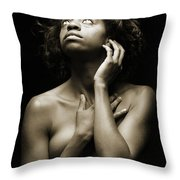 Chynna African American Nude Girl In Sexy Sensual Photograph And In Black And White Sepia 4789.01 Throw Pillow