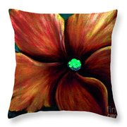 African Violet Golden Red Throw Pillow
