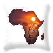 African Wildlife Map Throw Pillow