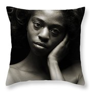 Chynna African American Nude Girl In Sexy Sensual Photograph And In Black And White Sepia 4784.01 Throw Pillow