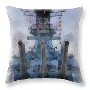 Aft Turret 3 Uss Iowa Battleship Photoart 01 Throw Pillow
