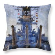 Aft Turret 3 Uss Iowa Battleship Photoart 02 Throw Pillow