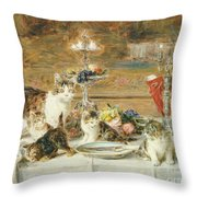 After Dinner Guests Throw Pillow by Louis Eugene Lambert