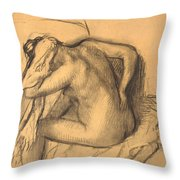 After The Bath .woman Drying Her Hair Throw Pillow