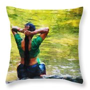 After The River Bathing. Indian Woman. Impressionism Throw Pillow by Jenny Rainbow