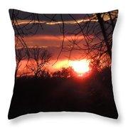 After The Snow Sunset Throw Pillow