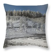 Afternoon At Mud Volcano Area - Yellowstone National Park Throw Pillow