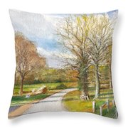 Afternoon In The Auvergne Countryside In Central France Throw Pillow