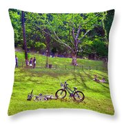 Afternoon In The Park With Friends Throw Pillow