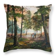 Afternoon Ride Through The Forest Throw Pillow