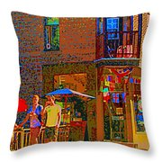 Afternoon Stroll French Bistro Sidewalk Cafe Colors Of Montreal Flags And Umbrellas City Scene Art Throw Pillow