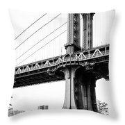 Afternoon Under The Manhattan Bridge - Brooklyn Bridge Park Throw Pillow