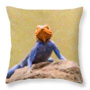 Agama Lizard On Rock Throw Pillow