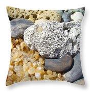 Agate Rock Garden Design Art Prints Coral Petrified Wood Throw Pillow by Baslee Troutman