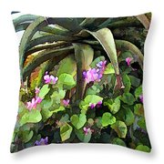 Agave And African Violets Throw Pillow