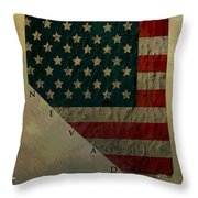 Aged Topographic Map Of Nevada Throw Pillow