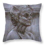 Aged Woman Throw Pillow
