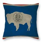 Aged Wyoming State Flag Throw Pillow