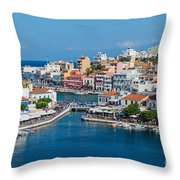Agios Nikolaos Town Throw Pillow by Luis Alvarenga