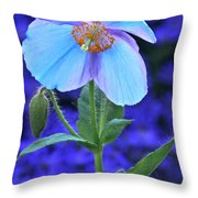 Aglow In Blue Tall View Throw Pillow