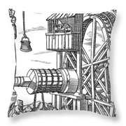 Agricola Water Pump, 1556 Throw Pillow
