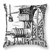 Agricola Waterwheel, 1556 Throw Pillow