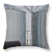 Agricultural Grain Silos Exterior Railway Wagon Throw Pillow