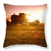 Agriculture - A Combine Harvests Wheat Throw Pillow by Mirek Weichsel