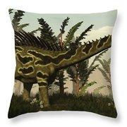 Agustinia Dinosaur Walking Amongst Throw Pillow