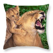 Ah Being A Mother Is Wonderful African Lions Wildlife Rescue Throw Pillow