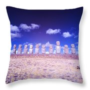 Ahu Tongariki Infrared Throw Pillow