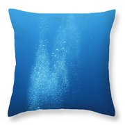 Underwater Scene With Airbubbles. Throw Pillow