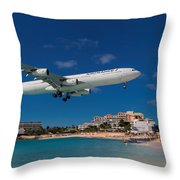 Air France At St. Maarten Throw Pillow