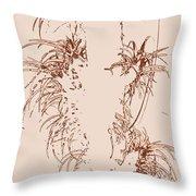 Air Plants In Sepia Throw Pillow