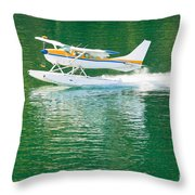 Aircraft Seaplane Taking Off On Calm Water Of Lake Throw Pillow