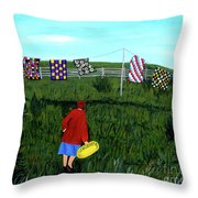 Airing Grandmother's Quilts Throw Pillow